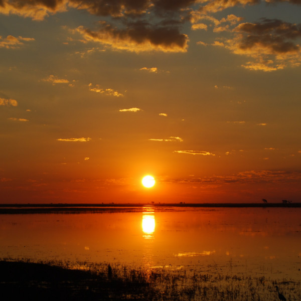Sun sets in Botswana